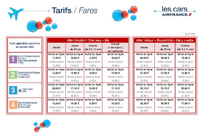 Air France Busse Tarif 2014 Paris